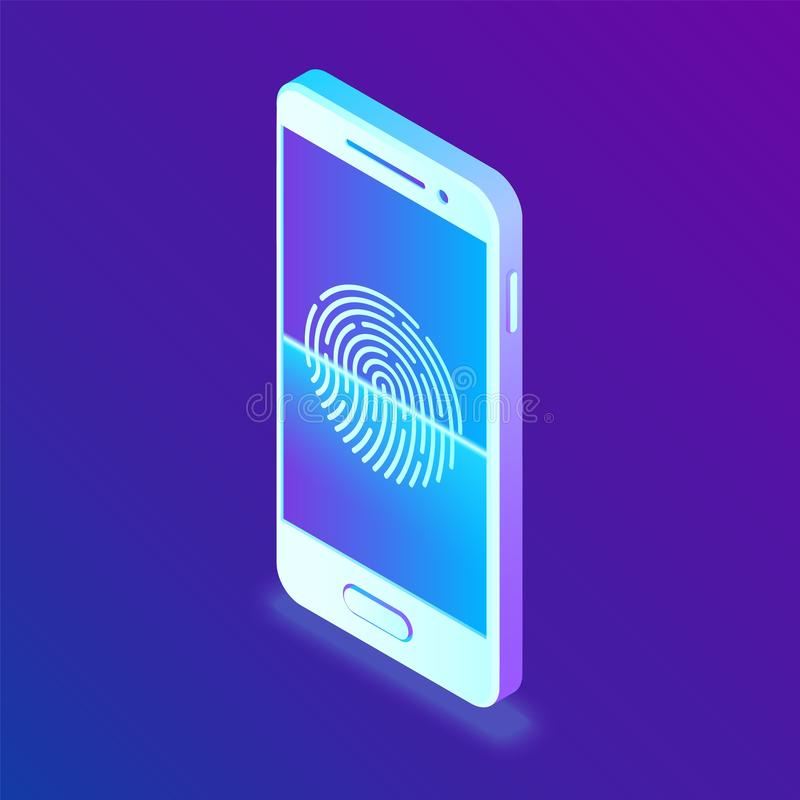 Scanning fingerprint on smartphone. Unlock mobile phone. Biometrics security. Touch screen smartphone with a zone to touch the hum. An finger, to unlock the vector illustration