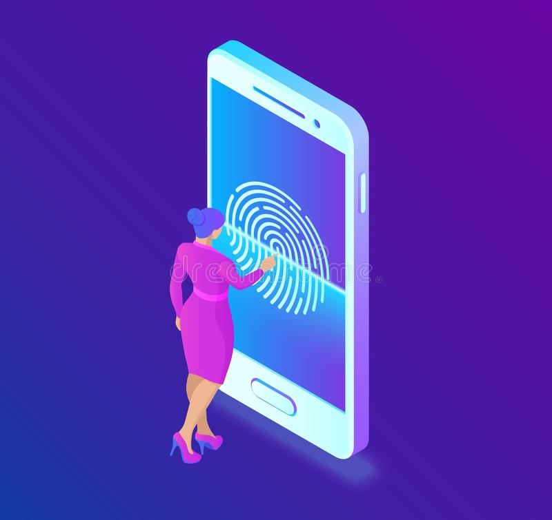 Scanning fingerprint on smartphone. Unlock mobile phone. Biometrics security. Touch screen smartphone with a zone to. Touch the human finger, to unlock the royalty free illustration