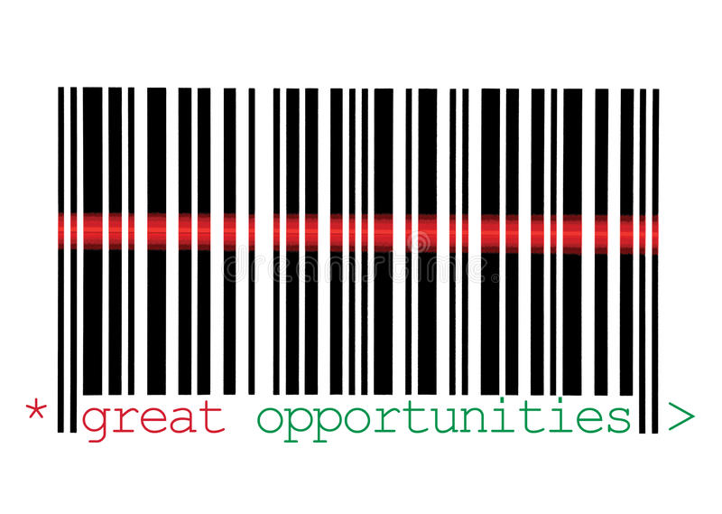 Scanning Great Opportunities Barcode Macro stock photography
