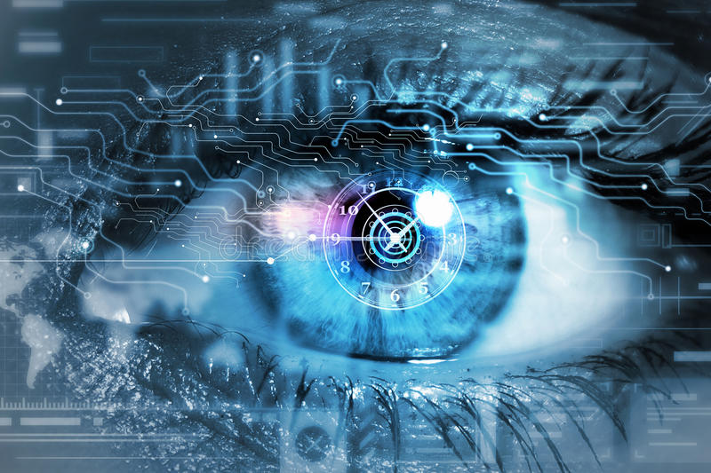 Scanning for personality identification. Female eye with security scanning digital concept royalty free stock image
