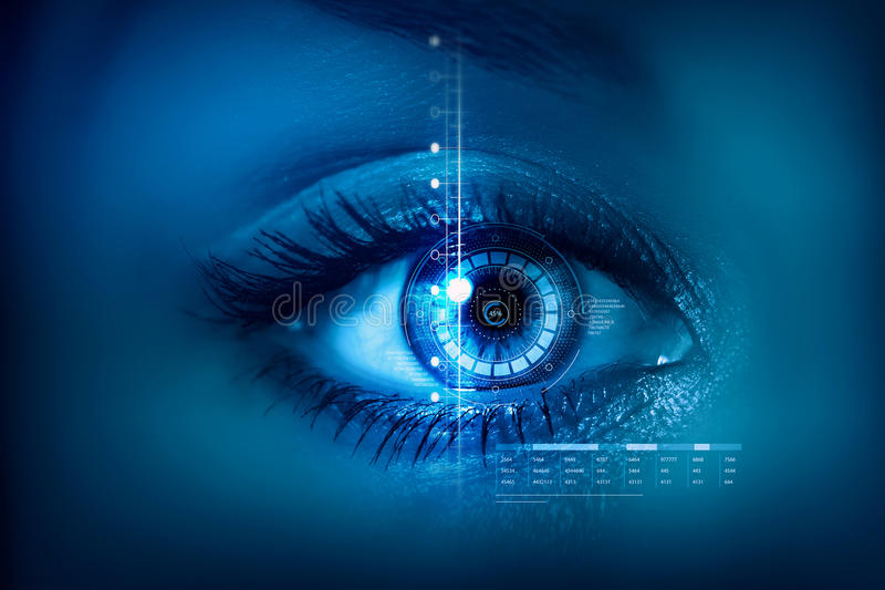 Scanning for personality identification. Female eye with security scanning digital concept royalty free stock photography
