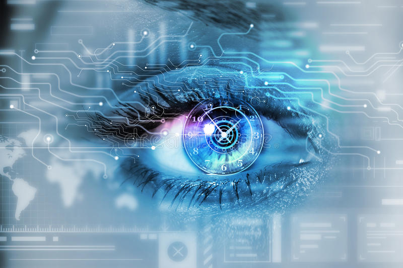 Scanning for personality identification. Female eye with security scanning digital concept stock photos