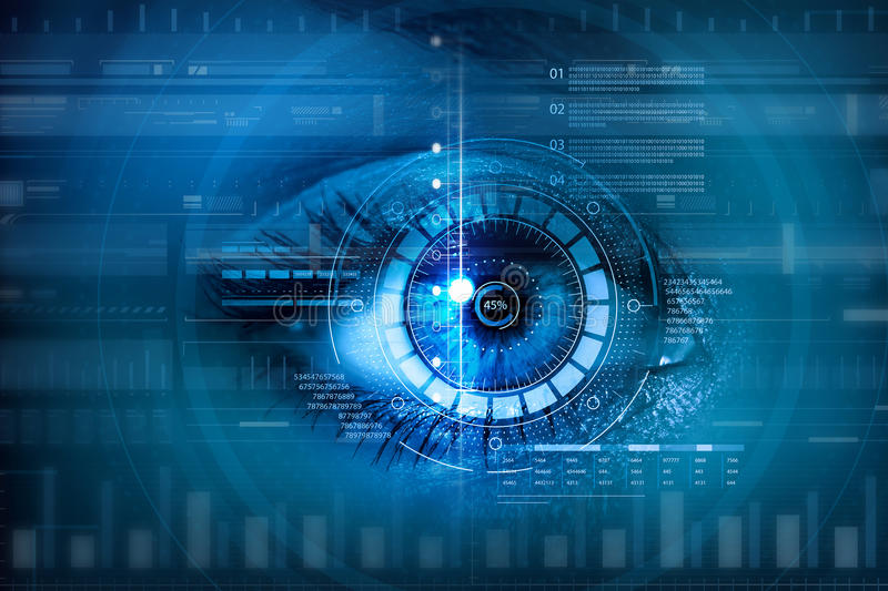 Scanning for personality identification. Female eye with security scanning digital concept stock images