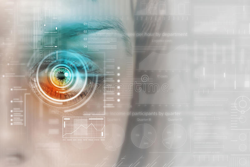 Scanning for personality identification. Female eye with security scanning digital concept stock photography