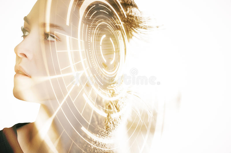Scanning for personality identification. Side portrait of woman with digital pattern. Scanning for personality identification royalty free stock photography