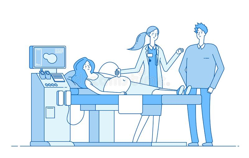 Scanning pregnancy. Pregnant woman sonography examination. Husband doctor looking monitor sonogram. Pregnancy diagnostic stock illustration