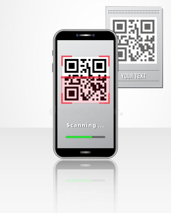 Scanning QR code product price tag using smartphone with mobile app isolated on white glossy table. Design concept for online shop. Ping, cashless payment royalty free illustration