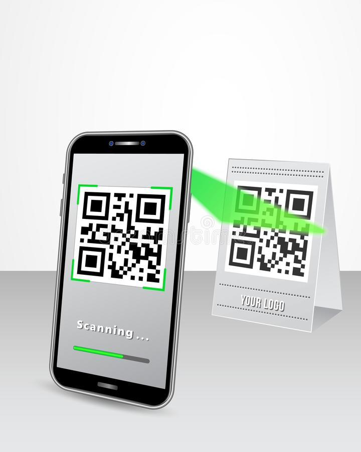Scanning QR code product price tag using smartphone in perspective view isolated on white glossy table. vector illustration