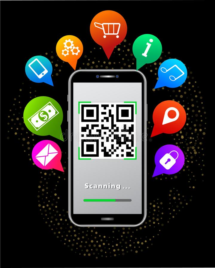 Scanning QR code using smartphone isolated on abstract black background with glitter, colorful mobile app icons like online shop. Scanning QR code using royalty free illustration
