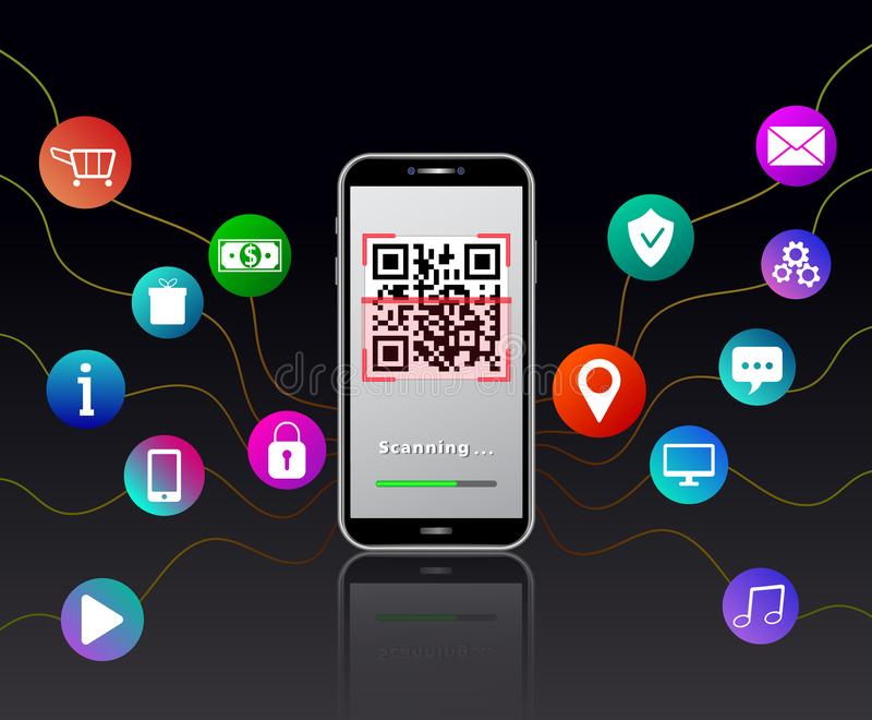 Scanning QR code using smartphone isolated on black glossy table with colorful mobile app with icons like online shopping cart. Padlock, gears, money, location vector illustration