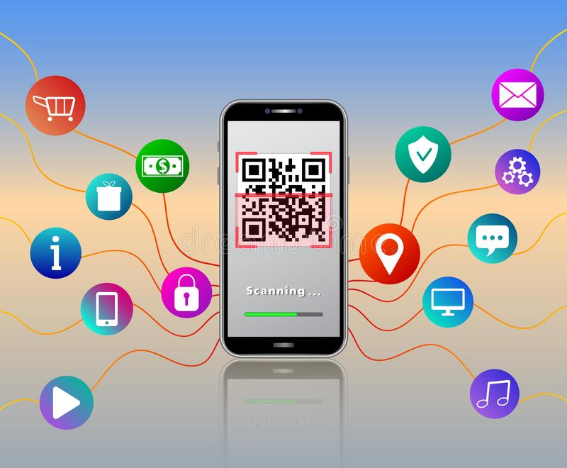Scanning QR code using smartphone isolated on glossy table with colorful mobile app with media icons like online shopping cart, pa royalty free illustration