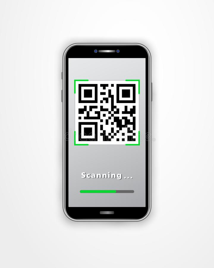 Scanning QR code using smartphone isolated on white background. Online shopping, mobile app, cashless technology concept. royalty free illustration