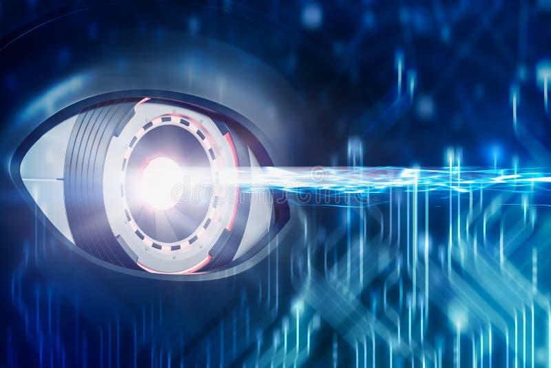 Scanning robot eye and circuit interface royalty free illustration