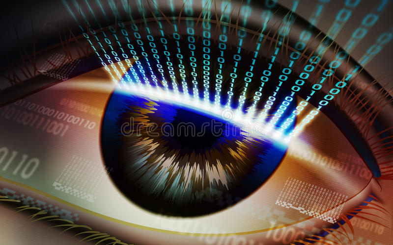 The scanning system of the retina, biometric security devices. Retina scanning - digital security system, access royalty free stock image