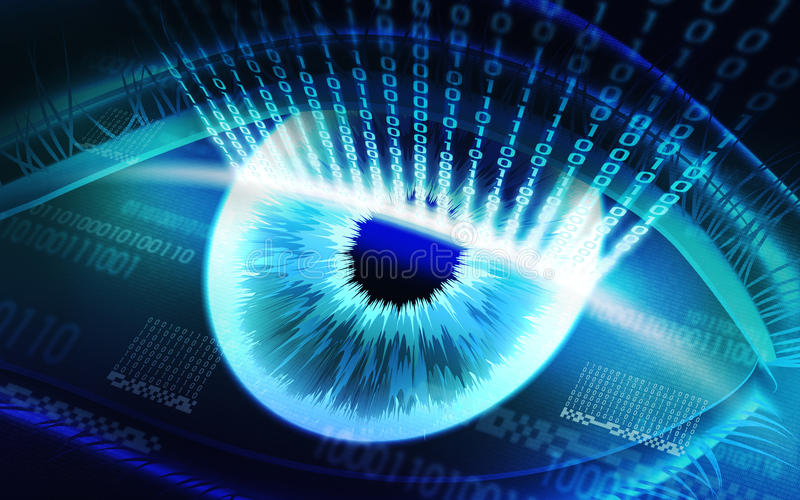 The scanning system of the retina, biometric security devices. Retina scanning - digital security system, access royalty free stock images