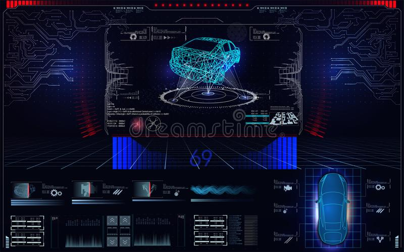 Scanningbil, analys och diagnostikmedel, HUD UI beståndsdelar, val av bildelar Maskinvarudiagnostikvillkor av bilen royaltyfri illustrationer