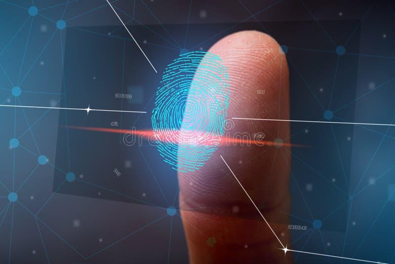 Scanningen av fingeravtrycket Höga teknologier av informationsskydd och biometric ID royaltyfri bild