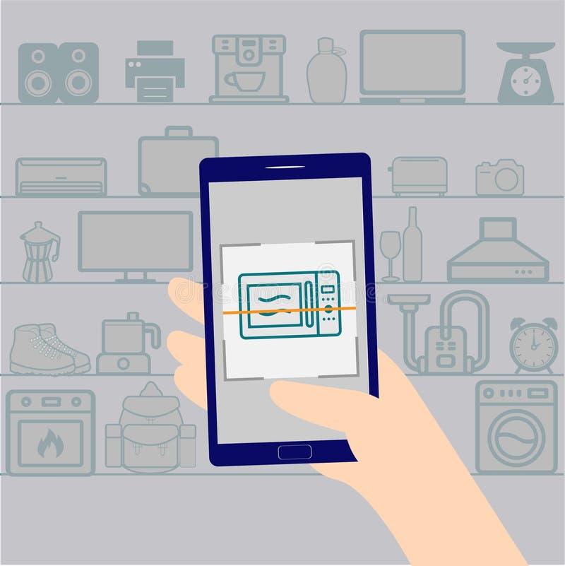 Scanningprodukter med mobiltelefonen royaltyfri illustrationer