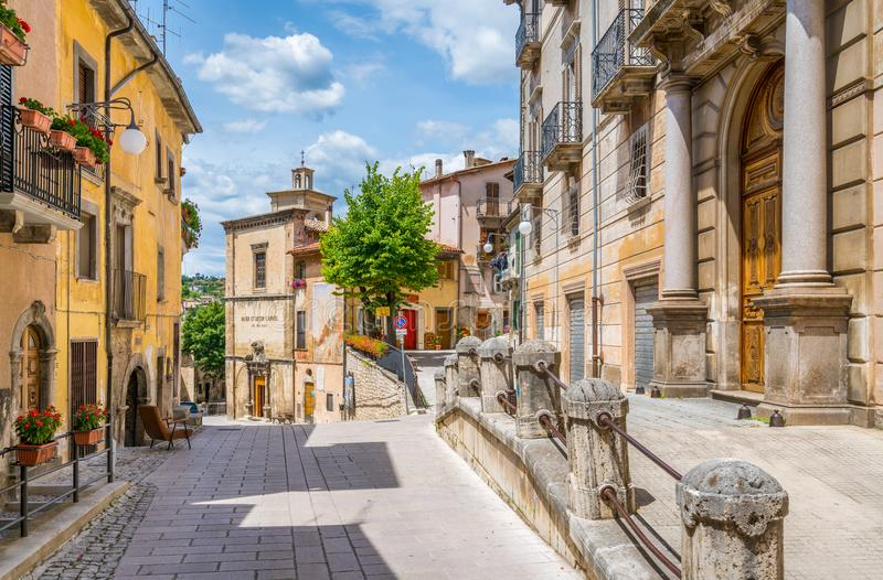 Scenic sight in Scanno, province of L`Aquila, Abruzzo, central Italy. Scanno is a town and comune in the province of L`Aquila, in the Abruzzo region of central stock photo