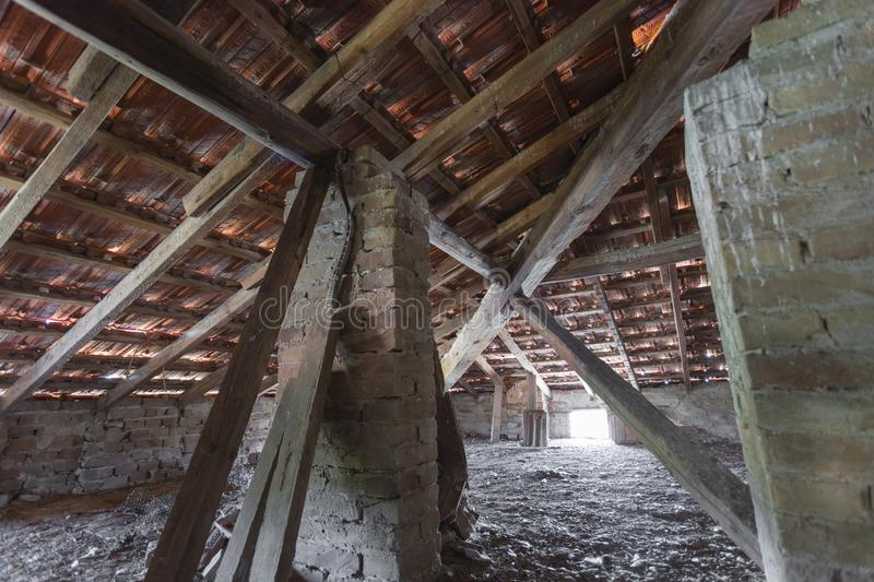 SCANZANO JONICO - MATERA, ITALY - August 22, 2019 Interior of the roof structure, a penthouse dating back to 1938 royalty free stock photography
