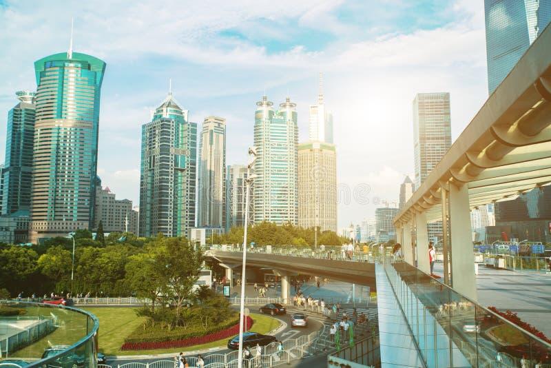 Scape города Шанхая во времени захода солнца Современная окружающая среда стоковая фотография