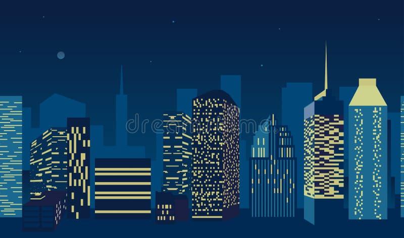 Scape azul da cidade com a silhueta de construções altas dos arranha-céus no projeto sem emenda do teste padrão ilustração do vetor