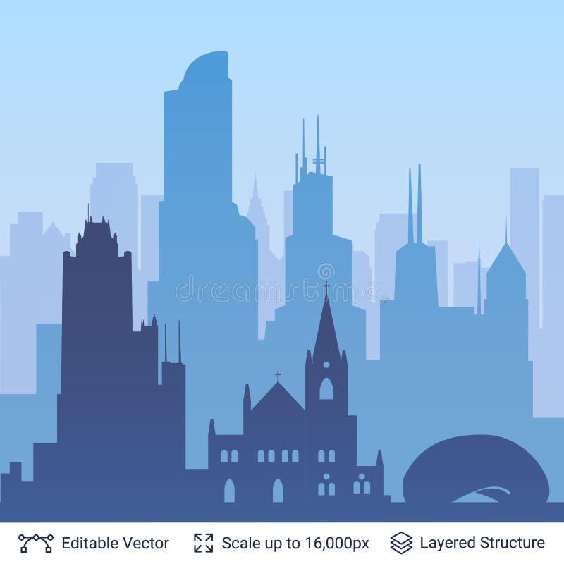 Scape célèbre de ville de Chicago illustration de vecteur