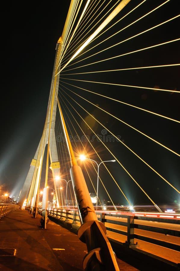 Scape da noite da ponte de corda de Tailândia Rama 8 foto de stock