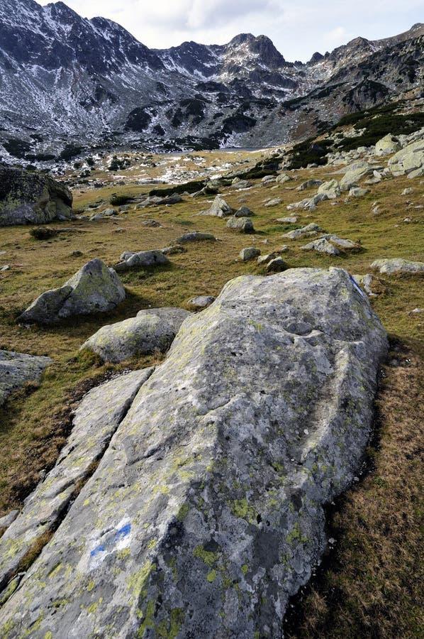 Scape das montanhas altas com pedregulhos e neve fotos de stock royalty free