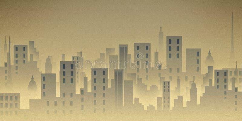 Scape de la ciudad, ilustración, edificios stock de ilustración
