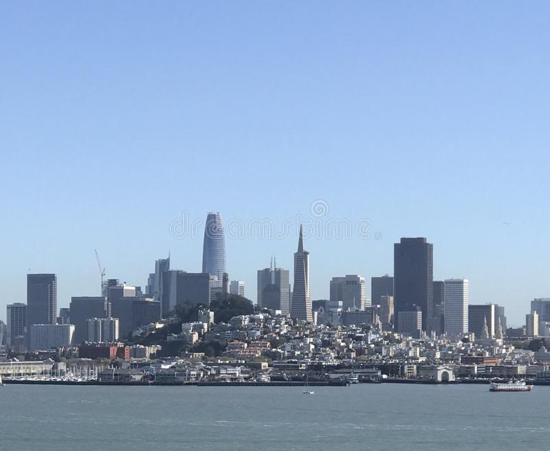 Scape de la ciudad de San Francisco de Alcatraz fotografía de archivo libre de regalías