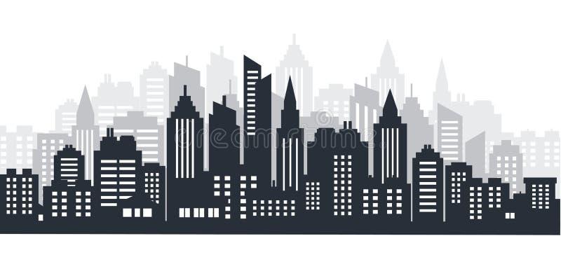 Scape de terre de silhouette de ville Horizontal de ville Paysage du centre avec de hauts gratte-ciel Gouvernement d'architecture illustration libre de droits