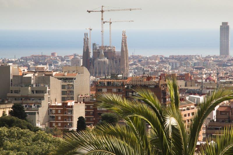 Scape de ville de Barcelone vu de Parque Guell image stock