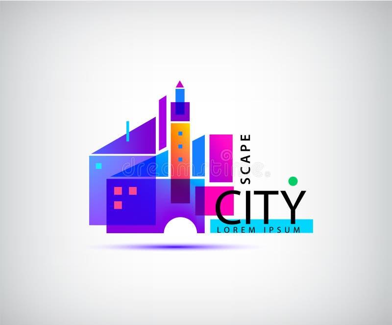 Scape de ville de vecteur, logo d'immobiliers Composition de construction abstraite géométrique, architecture illustration stock
