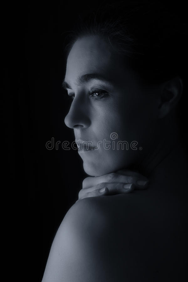 Scape do corpo da conversão artística da emoção do pescoço e da mão da mulher fotografia de stock royalty free