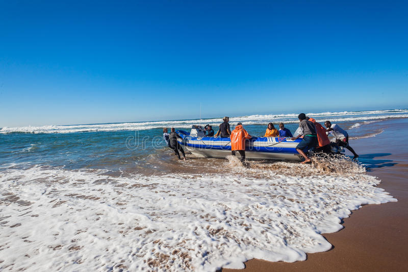 Scaphandre Dive Boat Beach Launch image stock