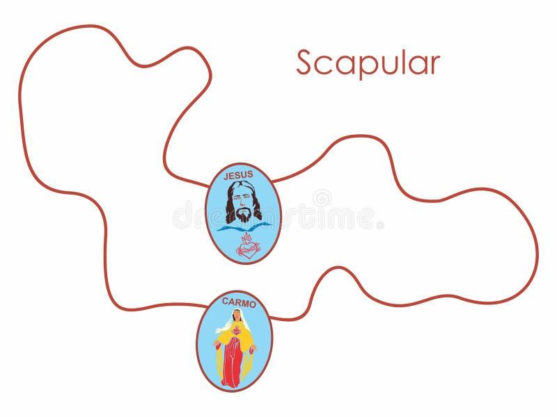 Scapular de la ficelle colorée Symbole chrétien illustration libre de droits