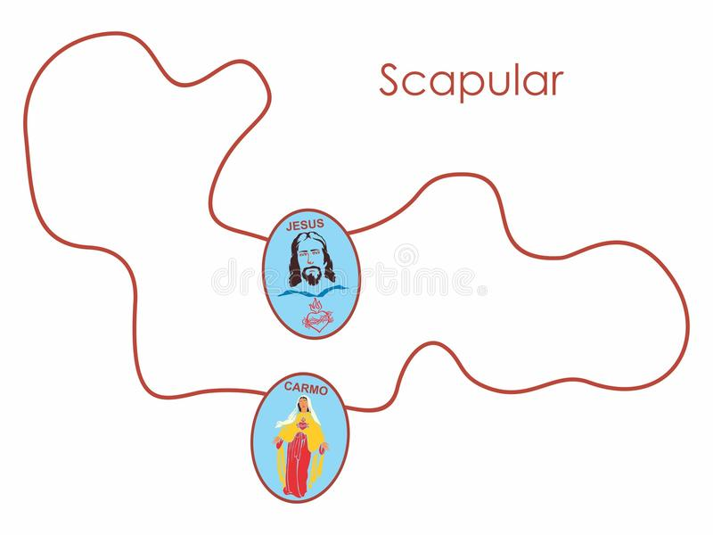 Scapular van gekleurd koord Christelijk Symbool royalty-vrije illustratie