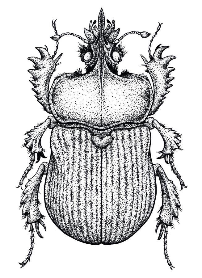 Scarabäuskäfertätowierung Punktarbeitstätowierung insekt Symbol des ewigen Lebens, Auferstehung, Wiederbelebung stock abbildung