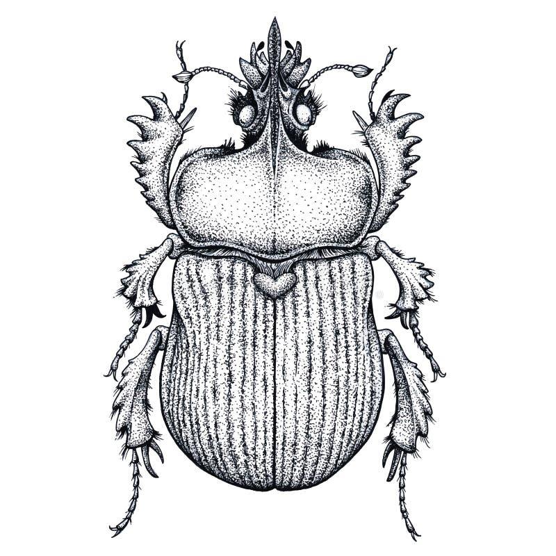Scarabäuskäfertätowierung Punktarbeitstätowierung insekt Symbol des ewigen Lebens, Auferstehung, Wiederbelebung vektor abbildung