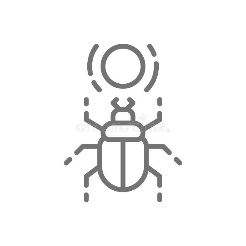 Scarabée égyptien, scarabée, ligne sacrée icône d'insecte illustration stock