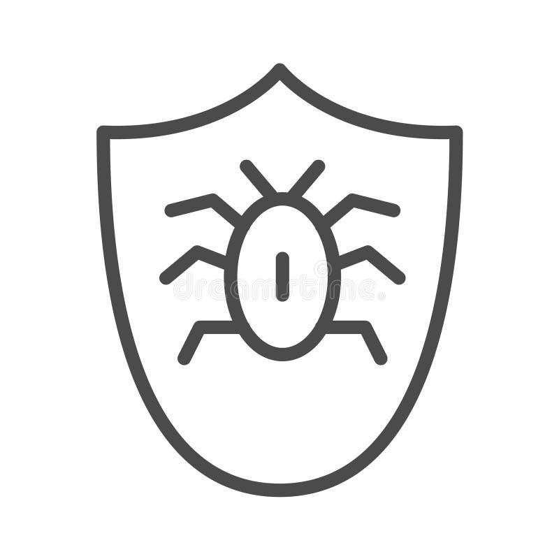 scarabée dans l'icône de bouclier Élément de sécurité de cyber pour le concept et l'icône mobiles d'applis de Web Ligne mince icô illustration libre de droits