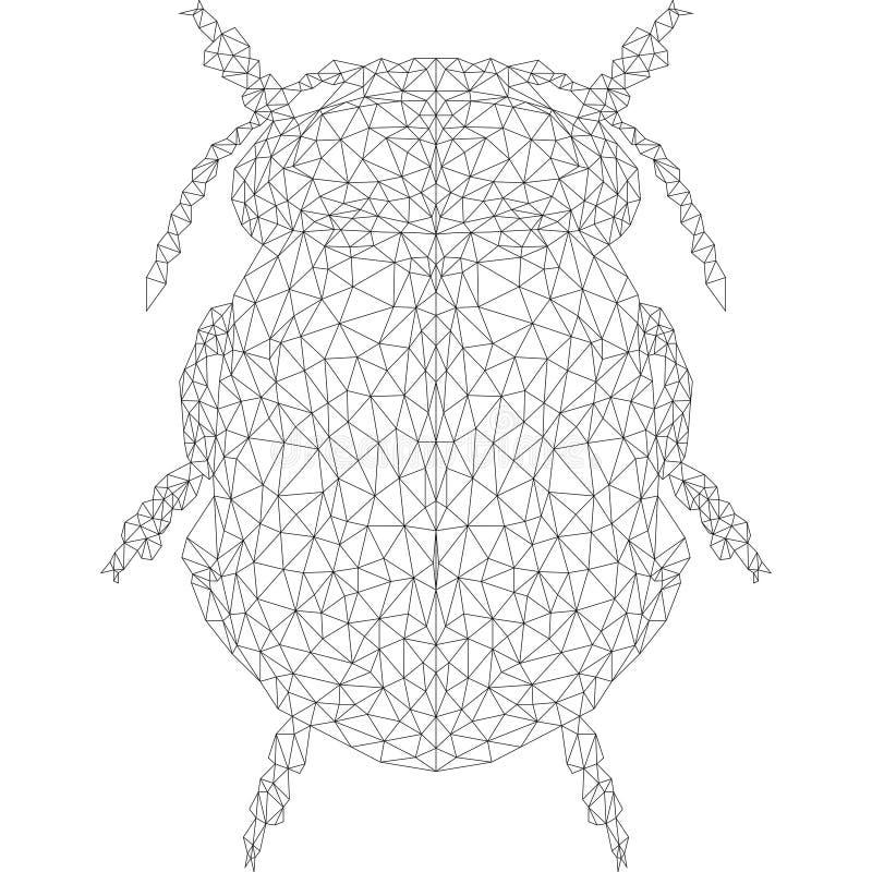 Scarabée dans le style géométrique avec les lignes noires sur un fond blanc photo stock