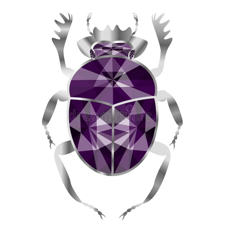 Scarabée de scarabée de l'argent et des améthystes, bijoux sur le CCB blanc illustration stock