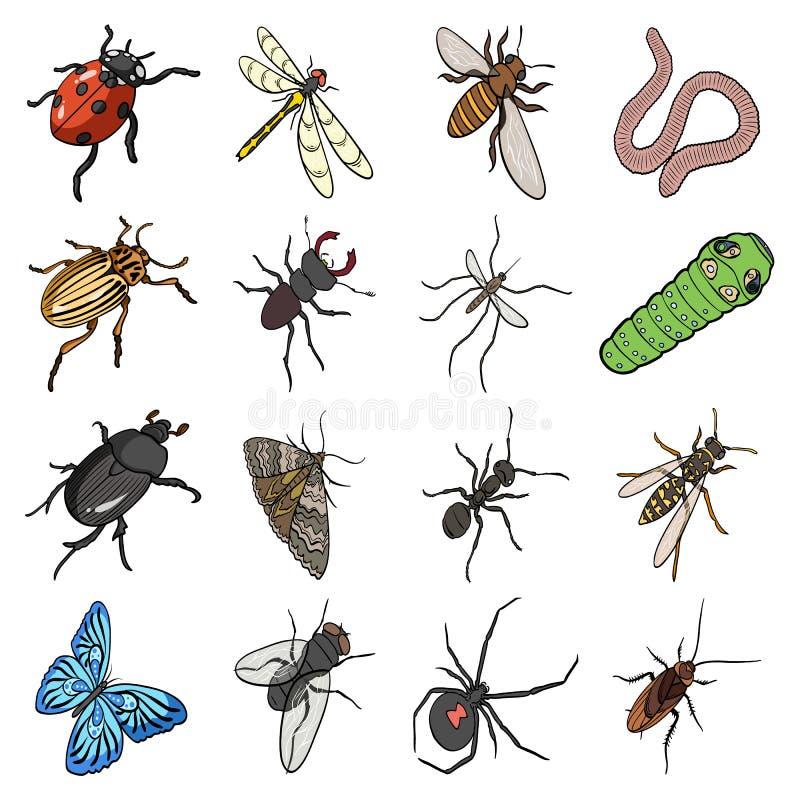 Scarabée, guêpe, abeille, fourmi, mouche, araignée, moustique et d'autres espèces d'insecte Les divers insectes ont placé des icô illustration libre de droits