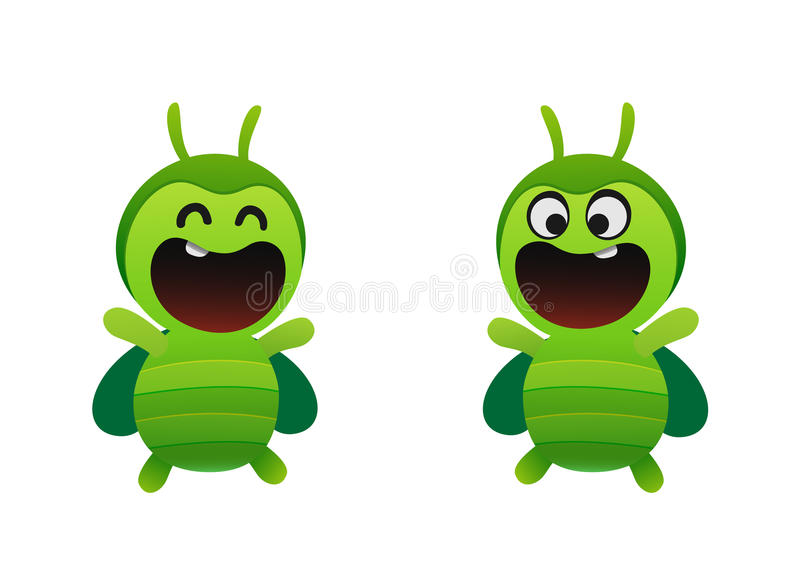 Scarabée vert gai souriant deux types illustration stock