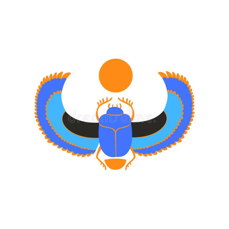 Scarab Beetle With Blue Wings And Orange Sun Symbol Of Ancient