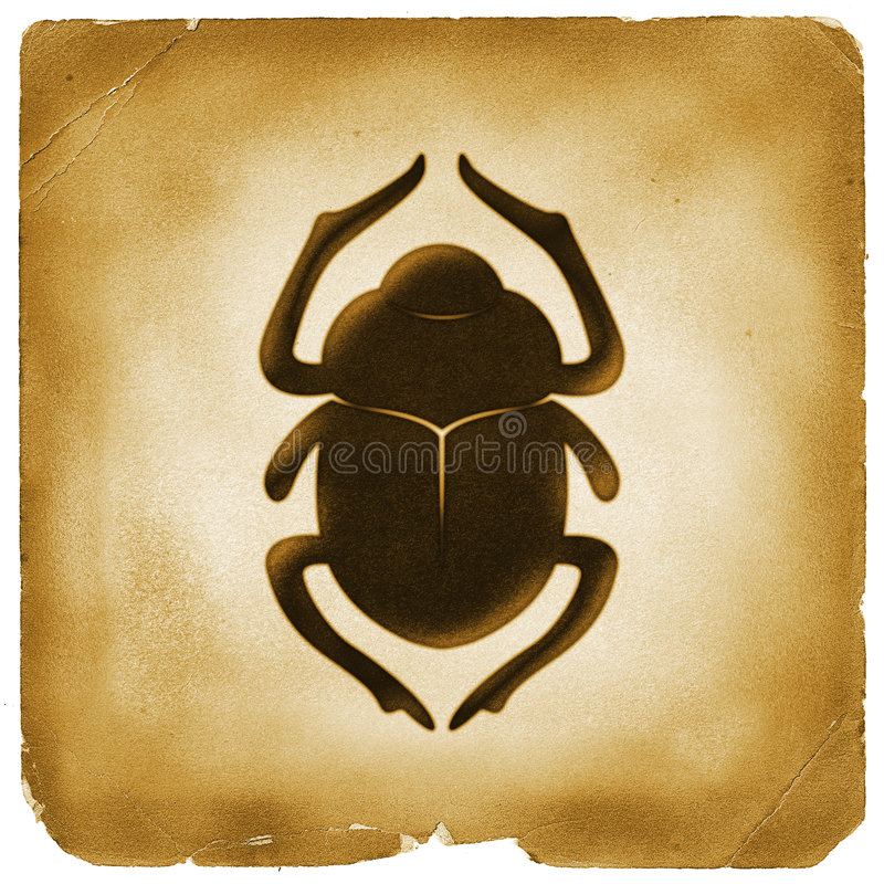 Free Scarab Beetle Egyptian Symbol Old Paper Royalty Free Stock Image - 3582066