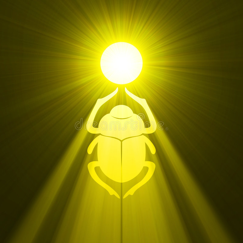 Free Scarab Beetle Egyptian Symbol Sun Flare Royalty Free Stock Image - 3629796
