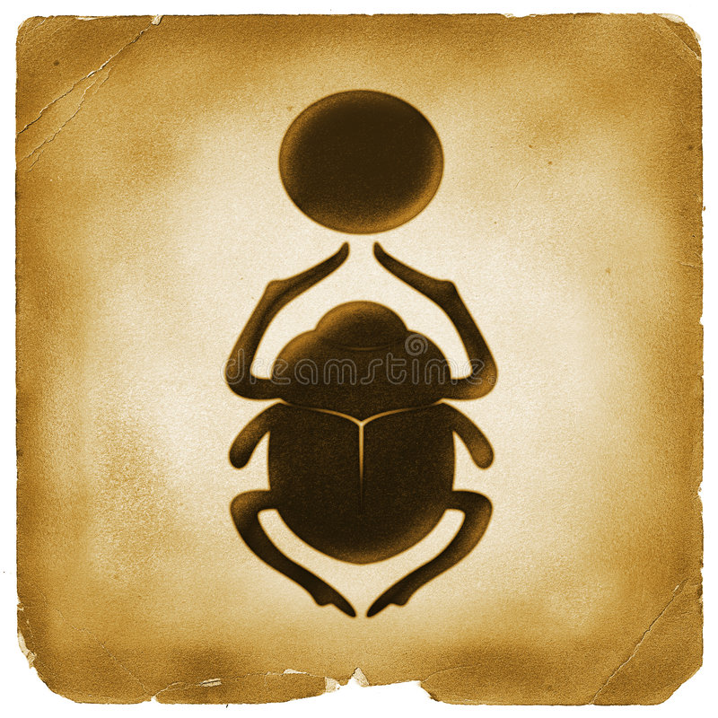 Free Scarab Bettle Egyptian Symbol Old Paper Royalty Free Stock Photos - 3629858
